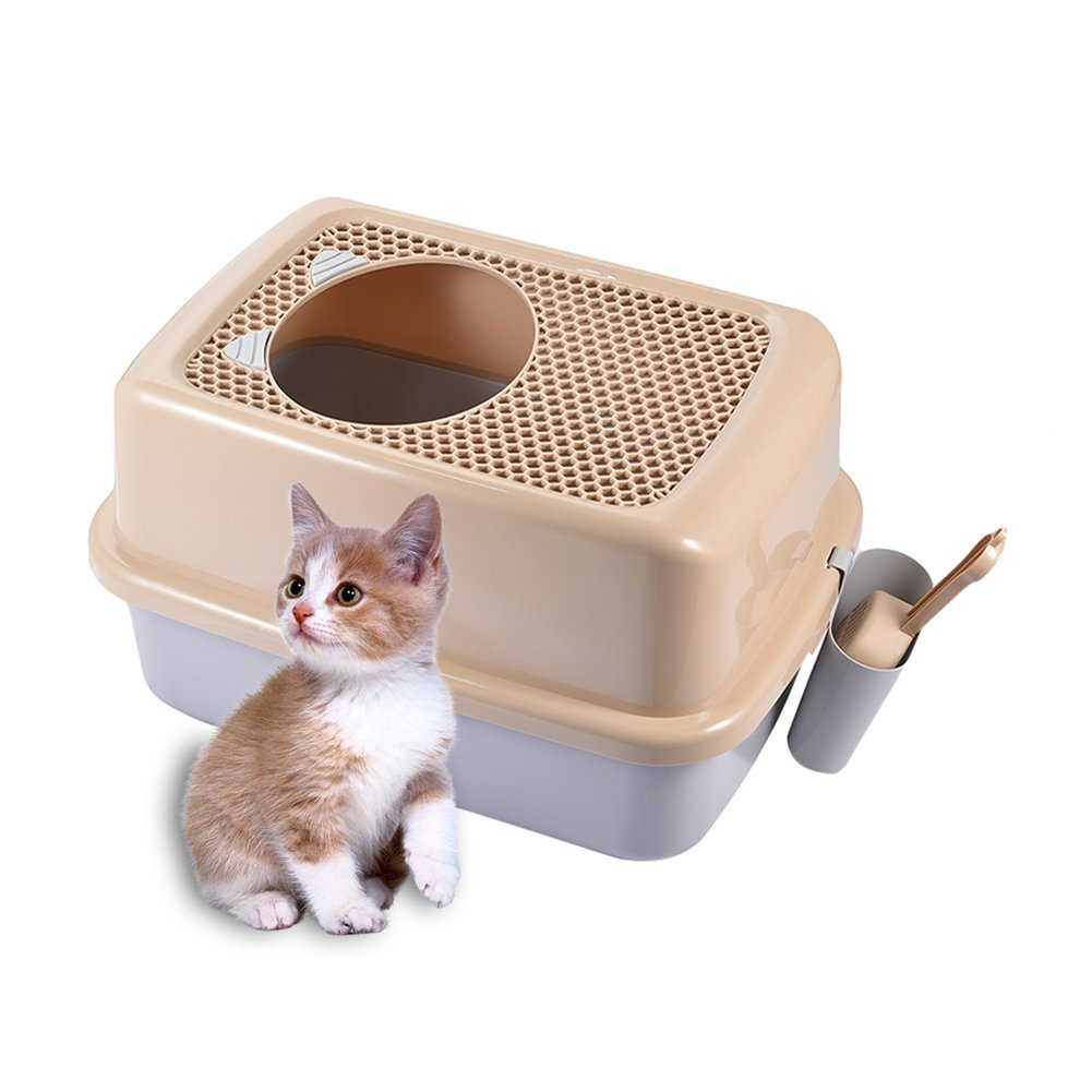 Cat Litter Box, Yunt Semi-closed Cat Toilet Kit with Shield and Scoop Mesh Portable Basin to Help Cats Develop Good Habits Type two
