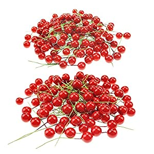 Shxstore Artificial Red Holly Berry Picks Stems Fake Winter Christmas Berries Decor For DIY Garland And Holiday Wreath Ornaments, 200 Counts 13