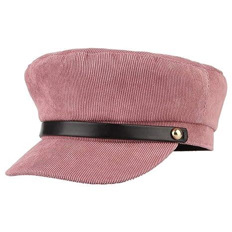 ERQINGBM Boina Otoño Invierno Mujeres Boina Sombreros Sólido Pana ...
