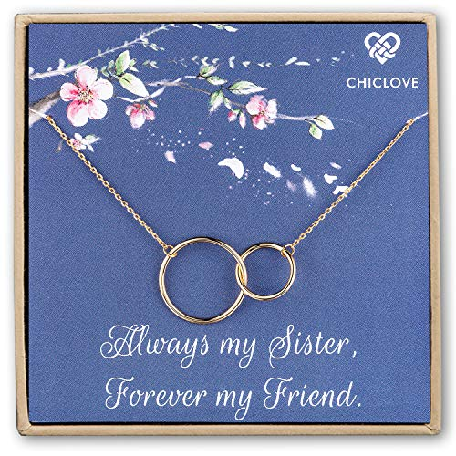 Chiclove Sterling Silver Two Interlocking Infinity Double Circles Pendant Necklace Eternal Love Gift Gold Plated (Sister Birthday Gifts Necklace) - Circle Necklace Double Pendant