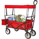 Artist Hand Outdoor All-Terrain Folding Canopy Utility Wagon Folding Collapsible Garden Travel Beach Shopping Cart with Shade Canopy