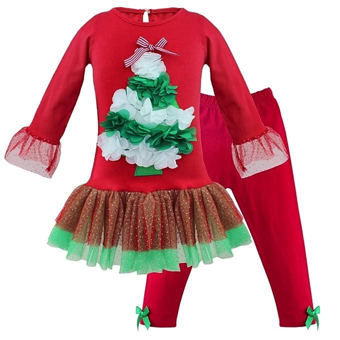 dPois Vestido Niña Navidad Camisa Manga Larga Tutú Falda ...