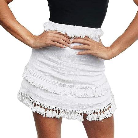 ZHRUI para Mujer Elástico de Cintura Alta Wrap Falda Suelta Borla ...