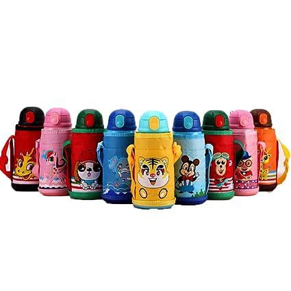 ZSL8 Botella Deportiva para niños Niño niña al vacío Paja de Acero Inoxidable sin Botella de Agua BPA Aire Libre para Correr, Ligero, con Aislamiento ...