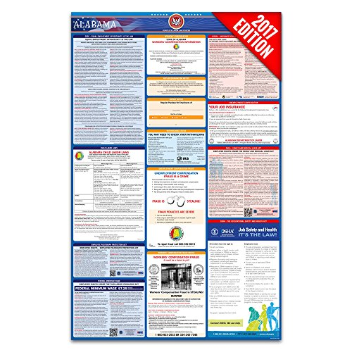 2017 Alabama Labor Law Poster – State & Federal Compliant – Laminated