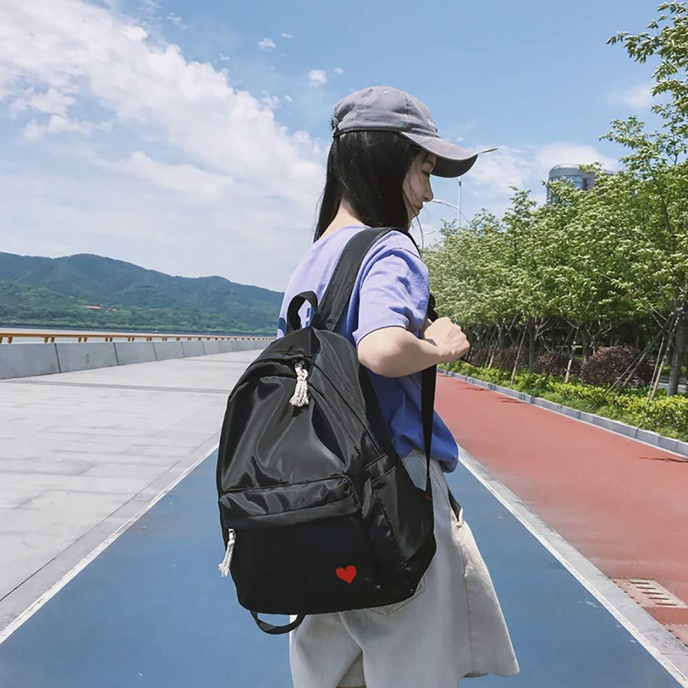 JJLIKER ❤ Women Bag Solid Color Simple Embroidered Love Student Canvas Backpack