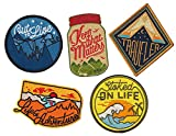 Asilda Store Iron On Patches Set - Perfect for Backpacks and Clothing - For Your Type of Fun [Adventure, Outdoor, Camping, Hiking, Travel] - Set of 5 Premium Quality Embroidered Patches
