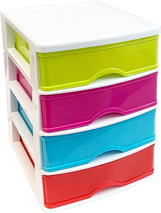 Cajonera de pl/ástico 5 cajones multicolor 28 x 21.5 x 17.5 cm