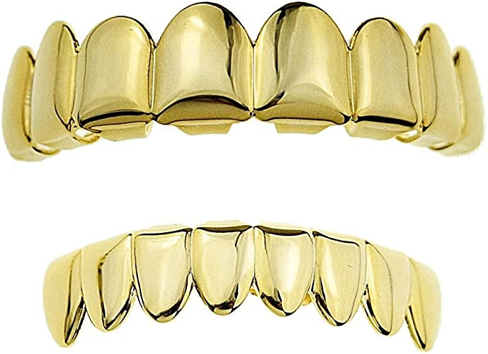 20 Grillz sets Hip Hop Teeth Tooth caps Plain Gold Plated Top and Bottom sets
