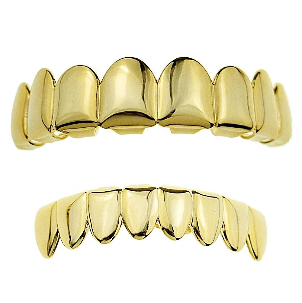 Best Grillz 14K Gold Plated 8/8 Set Eight Tooth Top 8 Bottom Plain Hip Hop Teeth Grills by Best Grillz