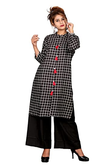 4e7809c9696 Singhal Fashion Women s Casual Black Kurti With Plazzo Set  Amazon.in   Clothing   Accessories