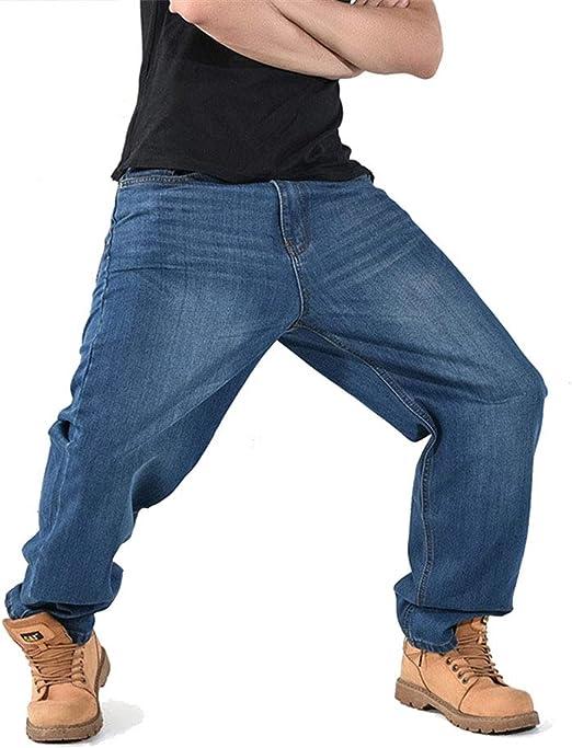 メンズルーズジーンズヒップホップスケートボードジーンズバギーパンツデニムパンツのヒップホップ男性クラシックパンツ4シーズンズビッグサイズ,ブルー,44