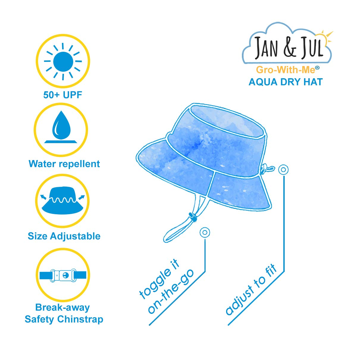 9a15c4f7137 Jan   Jul Baby Toddler Kids UPF 50 Sun Protection Adjustable Sun Hats   Amazon.ca  Clothing   Accessories