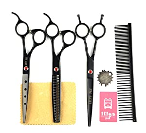 LILYS PET 2016 Professional PET Dog Grooming Scissors Cutting&Curved&Thinning Shears,Round Hole Design, Shark Teeth Thinning Scissor