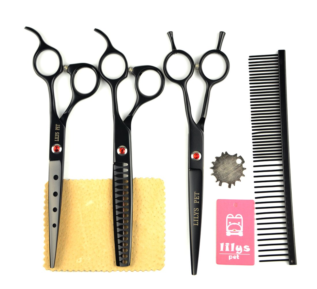 LILYS PET 2016 NEW PRODUCT Professional PET DOG Grooming scissors Cutting&Curved&Thinning shears,Round Hole Design, Shark Teeth Thinning scissor (7'', Black)