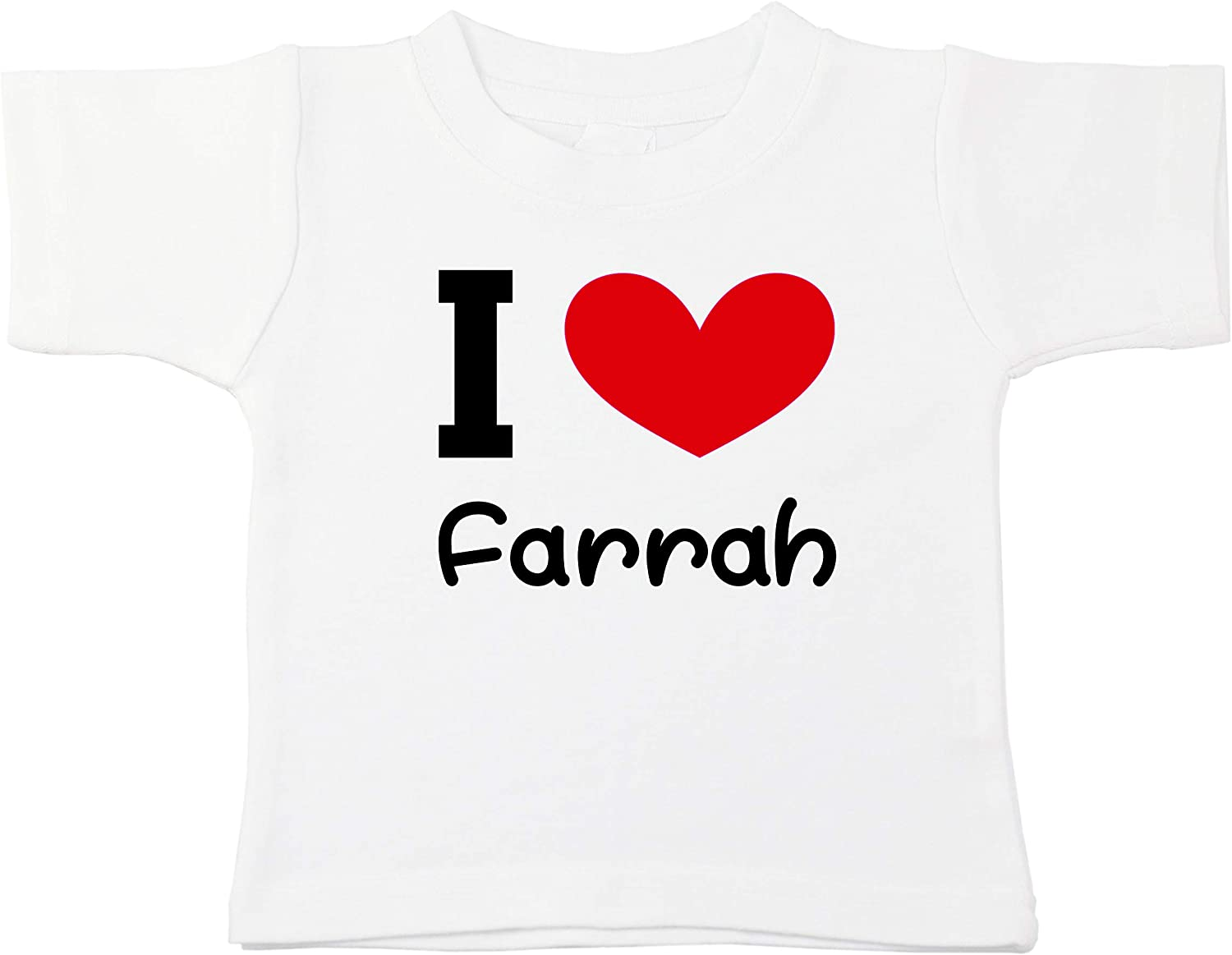 Kinacle I Love Farrah Personalized Baby//Toddler T-Shirt