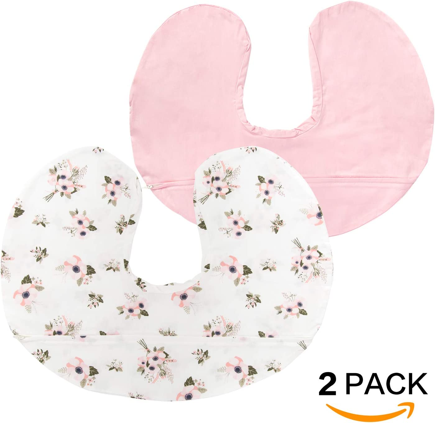 Lt Pink /& Floral TILLYOU Large Zipper Nursing Pillow Cover Luxury Egyptian Cotton Soft Feeding Pillow Slipcovers for Baby Girls Boys Fits Standard Infant Support Pillows Positioners