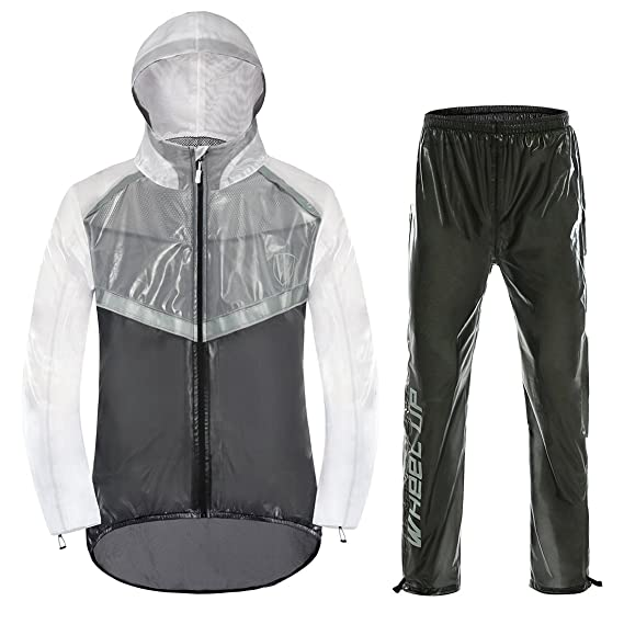 30569237cc9 GWELL Ultra-Thin Unisex Rain Suit With Reflective High-Visibility For  Cyclist