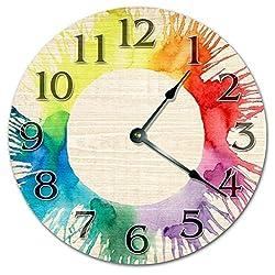 CREATIVE WATERCOLOR ARTSY CLOCK - COLORFUL CLOCK - Large 12 Wall Clock - Home Decor Clock