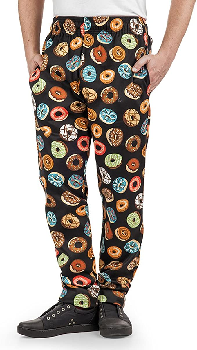 Men/'s On The Go Print Chef Pant | Traditional Baggy Fit XS-3X Elastic Waist 100/% Cotton