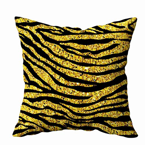 Gold Foil Texture - EMMTEEY Home Throw Pillowcase for Sofa Cushion Cover Golden Glitter Tiger Zebra Pattern Gold Foil Texture Animal Skin Background Decorative Square Double Sided Printing 20X20Inch