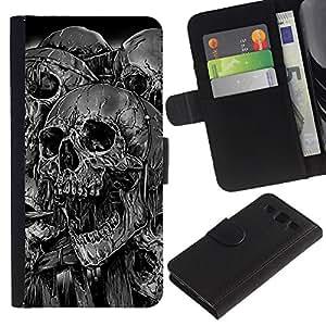 All Phone Most Case / Oferta Especial Cáscara Funda de cuero Monedero Cubierta de proteccion Caso / Wallet Case for Samsung Galaxy S3 III I9300 // Goth Evil Skulls B&W