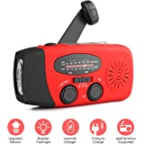 [New Version] Houkiper Emergency Hand Crank Solar Self Powered NOAA AM FM Radio with LED Flashlight, Phone Charger and 1000mAh Power Bank for Camping Hiking Outdoor Survival (Red)