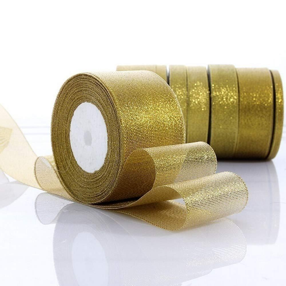 Argento, 0.6cm Youyun 25yards Natale Nastro Argento Oro per Regalo Imballaggio Cintura Nozze Festa Nastro di abbellimento Accessori da Cucire