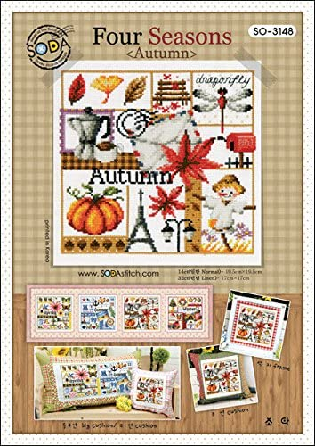 SO-3147 Four Seasons Summer SODA Cross Stitch Pattern leaflet authentic Korean cross stitch design chart color printed on coated paper