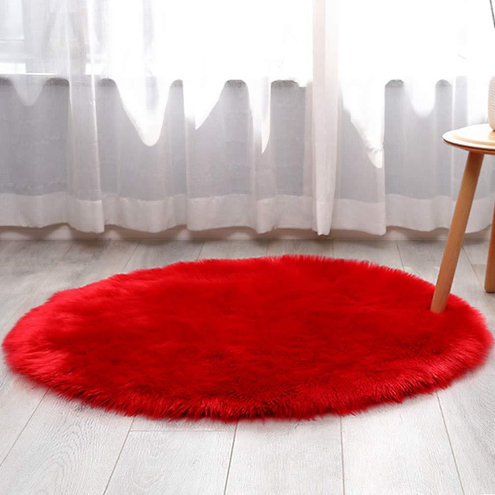 ラグ 円形ラグ レッド シャギーラグ 北欧 rug 円形 マイクロファイバーシャギー ラグマット シャギーラグ 滑り止め カーペット 洗える 冬用 夏用 折り畳み可能 150cm シンプル 無地 北欧 絨毯 屋内用 抗菌防臭 B07TJ98MYD レッド 150cm