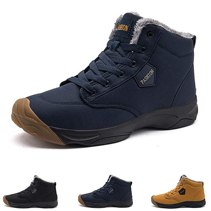 GOUPSKY Snow Boots for Men Lightweight Lace up Winter Shoes Outdoor Fur Lined Booties