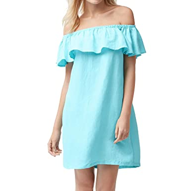 ffe48e4fab72 Tommy Bahama Women s Linen Dye Off The Shoulder Dress Cover-Up (Swimming  Pool Blue