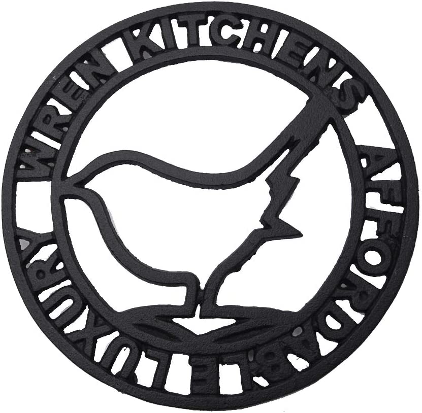 Sungmor Heavy Duty Cast Iron Round Bird Metal Trivet,Rustproof Black Racks Stands Holders for Hot Pans or Teapot,Kitchen or Dinning Table Decorations