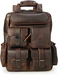 """Tiding Men's Vintage Genuine Leather Backpack Multi Pockets School Travel Daypack Shoulder Bag for 14"""" Laptop"""