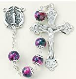 The Finest Sterling Silver Rosaries, Sterling Silver Centerpiece and Crucifix with Rhodium Plated Brass Findings, 8mm Pink Marble Double Capped Glass Beads with Sterling Silver Miraculous Center and 2'' Sterling Crucifix