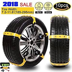 Anti-skid Tire Chains Anti Slip Tire Chains Snow Tire Chains Automotive Passenger Vehicle Snow Chains Mud Chains for Car/SUV/ Truck, Tire Width 185-295mm, Set of 10