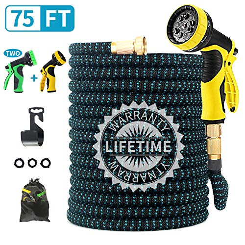 FIENVO 75 ft Upgraded Expandable Durable No-Kink Flexible Garden Water Hose Set with Extra Strength Fabric Triple Layer Latex Core,3/4″ Solid Brass Connectors 9 Function Spray Hose Nozzle