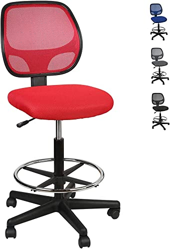 LUCKWIND Office Drafting Chair Mesh – Armless Task Ergonomic Lumbar Support MidBack Computer Desk Chair Adjustable Stool Swivel Chair with Adjustable Chrome Foot Rest SGS-BIFMA 21-27 Red
