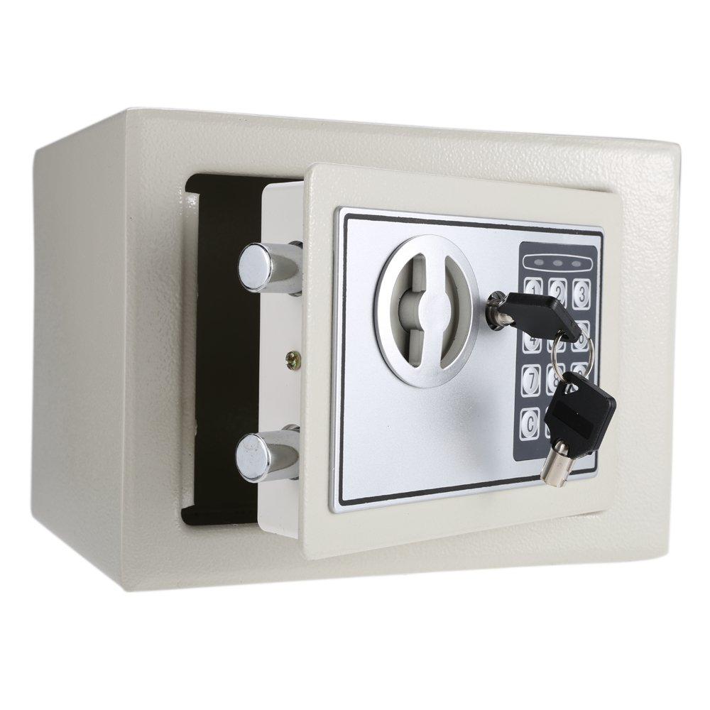 Aibecy Caja de Bloqueo Seguridad con Bloqueo de del Teclado Digital /9.05  6.69  6.69 Pulgada (Material: Acero),Blanco Crema 4ff616