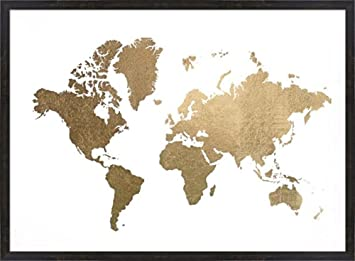 Amazon large gold foil world map metallic foil by jennifer large gold foil world map metallic foil by jennifer goldberger framed art print wall picture gumiabroncs Choice Image