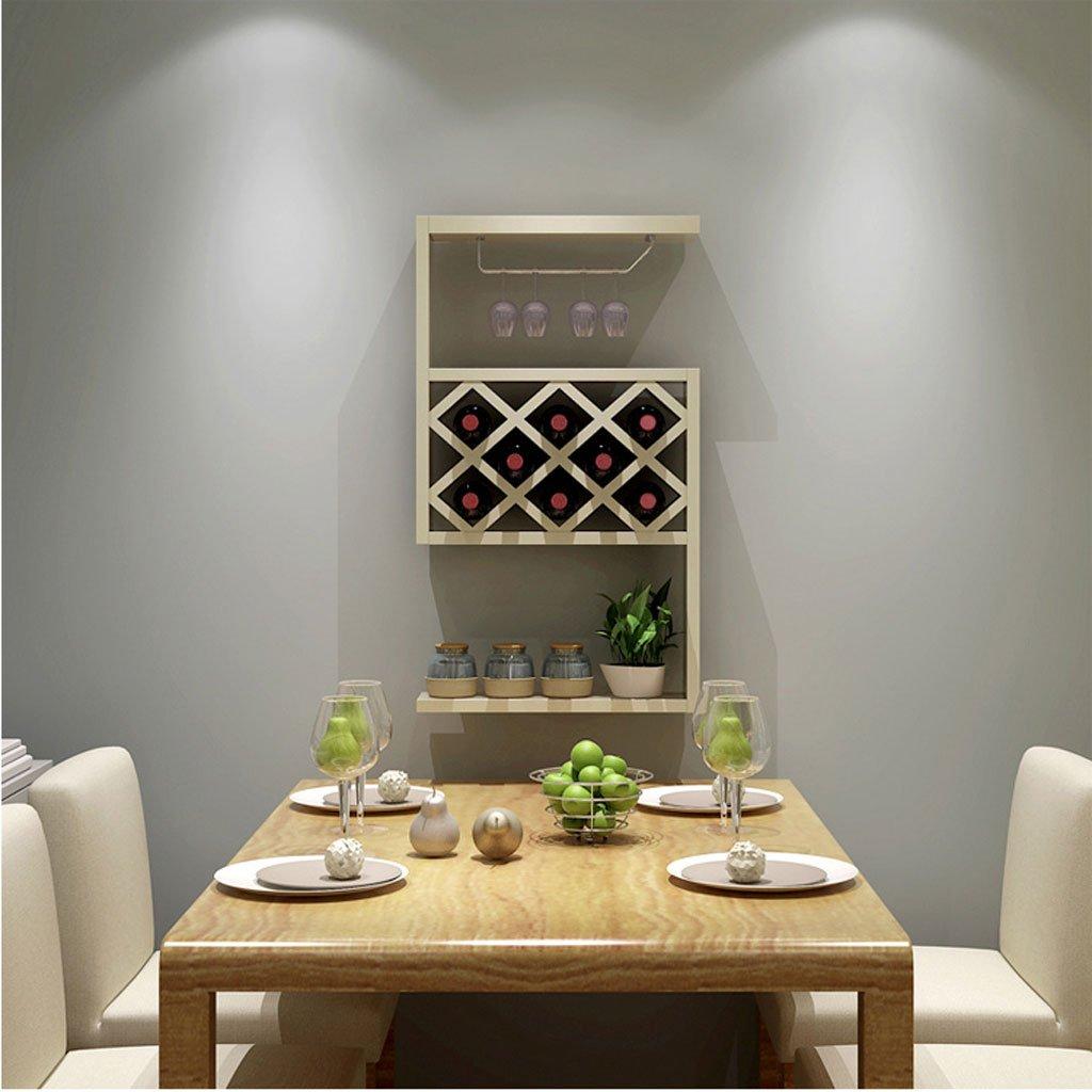 GWM Shelf Wine Cabinet Hanging Restaurant Wine Rack Lattice Suspension (Color : White Maple)
