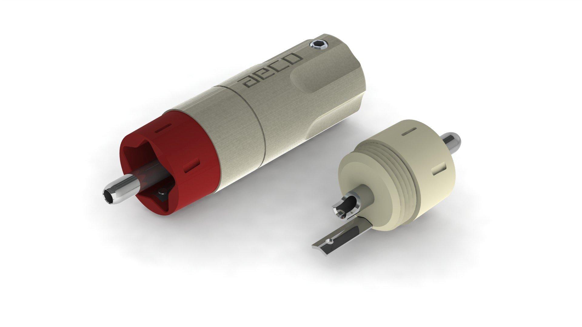 aeco RCA Plug ARP-4045R, 4pcs/1set, Rhodium Plating, Vacuum bag