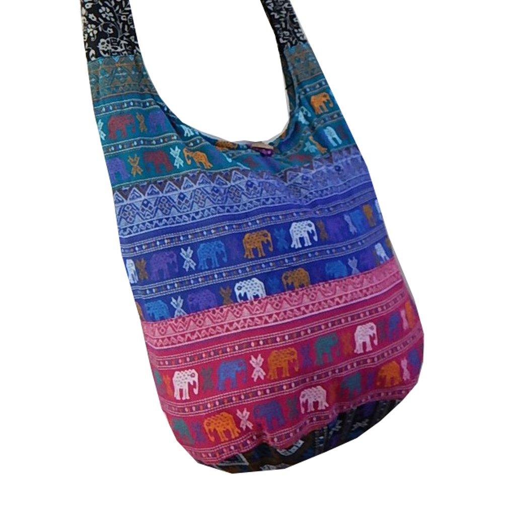 BTP! Thai Cotton Hippie Hobo Sling Crossbody Bag Messenger Purse Ethnic Elephant Parade (Patchwork Random Colors PW2) by BenThai Products