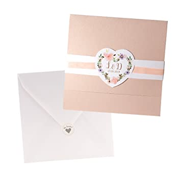 Weddix Einladungskarten Irene Zur Hochzeit Mit Blumen Apricot 3