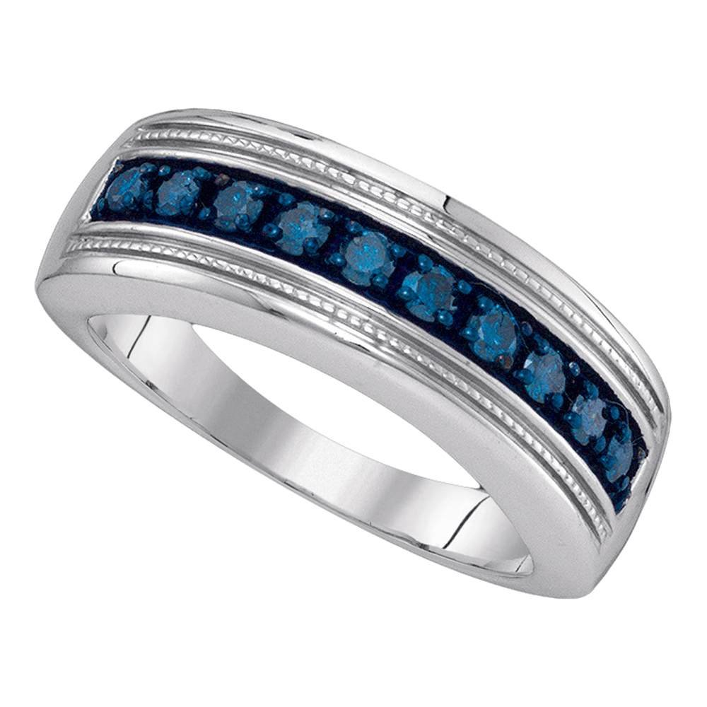Sterling Silver Mens Round Blue Color Enhanced Diamond Wedding Anniversary Band 1/2 Cttw