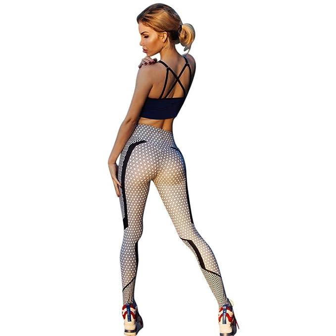 Leggings Yoga Mujer, Leggings Deporte Mujer Cintura Alta Mallas Yoga Mujer Leggins Polainas de Fitness de Yoga Running Gym Stretch Pantalones ...