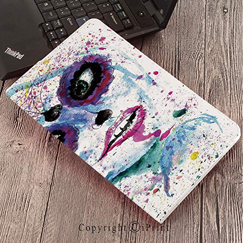 Samsung Tab S3 9.7 SM-T820 SM-T825 Tablet Case Protective Cover Crystal Case,Girls,Grunge Halloween Lady with Sugar Skull Make Up Creepy Dead Face Gothic Woman Artsy,Blue Purple ()