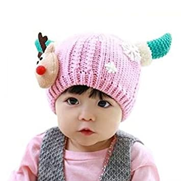 ac8cec4fa09 Image Unavailable. Image not available for. Color  Zcargel Cute Winter Warm Knitted  Beanie Cap Hat Christmas Reindeer   Ox Horn Design for Baby