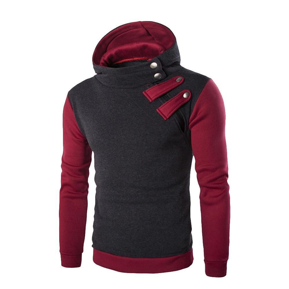 VIASA_ Men Fitted Shirts, Hooded Sweatshirt Tops, Hoodie Zip Jacket Coat Outwear (Dark Gray, L) by VIASA_ (Image #1)