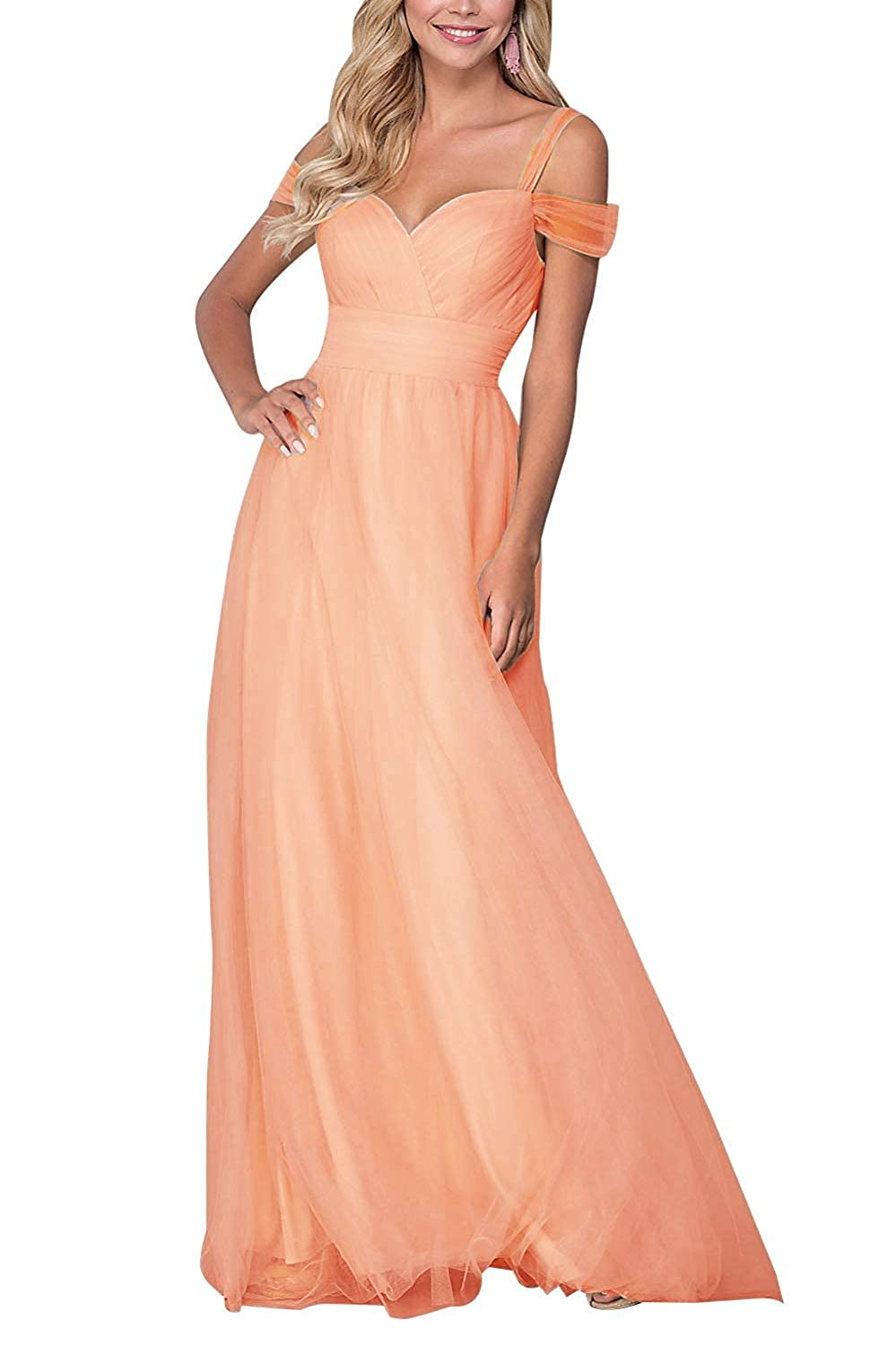 Coral liangjinsmkj Bridesmaid Dresses Long Off Shoulder Ruffled Tulle Spaghetti Strap Prom Gowns for Women